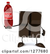 Clipart Of A 3d Chocolate Candy Bar Character Holding A Soda Bottle Royalty Free Illustration
