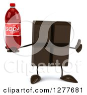 Clipart Of A 3d Chocolate Candy Bar Character Holding A Soda Bottle And Thumb Up Royalty Free Illustration