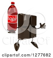 Clipart Of A 3d Chocolate Candy Bar Character Facing Right Jumping And Holding A Soda Bottle Royalty Free Illustration