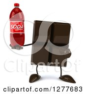 Clipart Of A 3d Chocolate Candy Bar Character Holding And Pointing To A Soda Bottle Royalty Free Illustration