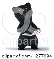 Clipart Of A 3d Bespectacled Black Bear Reading And Pointing To A Book Royalty Free Illustration