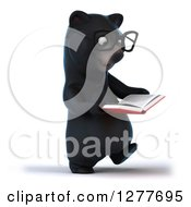 Clipart Of A 3d Bespectacled Black Bear Walking And Reading A Book Royalty Free Illustration