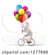 Clipart Of A 3d Polar Bear Riding A Bicycle To The Left With Party Balloons Royalty Free Illustration