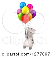 Clipart Of A 3d Polar Bear Looking Up And Floating With Party Balloons Royalty Free Illustration