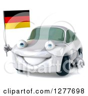 Clipart Of A 3d White Porsche Car Facing Slightly Left And Holding A German Flag Royalty Free Illustration