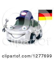 Clipart Of A 3d White Mechanic Porsche Car Facing Slightly Left And Holding A Wrench And German Flag Royalty Free Illustration