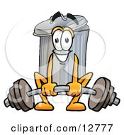 Clipart Picture Of A Garbage Can Mascot Cartoon Character Lifting A Heavy Barbell