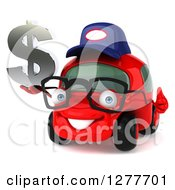 Clipart Of A 3d Red Bespectacled Compact Mechanic Car Facing Slightly Left Holding A Thumb Up And Dollar Symbol Royalty Free Illustration