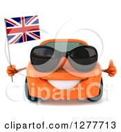Clipart Of A 3d Orange Porsche Car Wearing Sunglasses Holding A Thumb Up And A British Flag Royalty Free Illustration