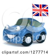 Clipart Of A 3d Blue Porsche Car Facing Left And Holding A British Flag Royalty Free Illustration