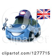 Clipart Of A 3d Blue Mechanic Porsche Car Holding A Wrench And A British Flag Royalty Free Illustration