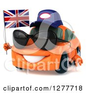 Clipart Of A 3d Orange Mechanic Porsche Car Wearing Sunglasses Facing Left And Holding A British Flag Royalty Free Illustration