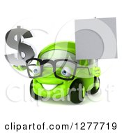 Clipart Of A 3d Bespectacled Green Compact Car Facing Slightly Left Holdig A Dollar Symbol And Blank Sign Royalty Free Illustration by Julos