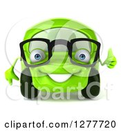 Clipart Of A 3d Bespectacled Green Compact Car Holding A Thumb Up Royalty Free Illustration by Julos