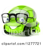 Clipart Of A 3d Bespectacled Green Compact Car Facing Slightly Left Royalty Free Illustration by Julos