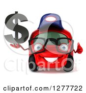 Clipart Of A 3d Red Bespectacled Compact Mechanic Car Holding A Thumb Up And Dollar Symbol Royalty Free Illustration