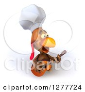 Clipart Of A 3d Chef Chicken Singing And Playing A Guitar Royalty Free Illustration by Julos