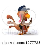 Clipart Of A 3d Brown Police Chicken Facing Right And Playing A Guitar Royalty Free Illustration