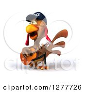Clipart Of A 3d Brown Police Chicken Facing Left Singing And Playing A Guitar Royalty Free Illustration
