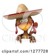 Clipart Of A 3d Brown Mexican Chicken Wearing A Sombrero And Pointing Down Over A Sign Royalty Free Illustration by Julos