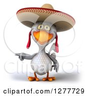 Clipart Of A 3d White Mexican Chicken Wearing A Sombrero And Pointing Left Royalty Free Illustration by Julos