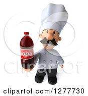 Clipart Of A 3d Short Male Chef With A Mustache Holding Up A Soda Bottle Royalty Free Illustration