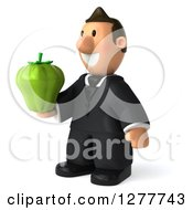 Clipart Of A 3d Short White Businessman Facing Left And Holding Out A Green Bell Pepper Royalty Free Illustration