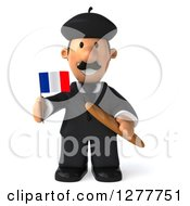 Clipart Of A 3d Short French Businessman Holding A Flag And Bread Royalty Free Illustration