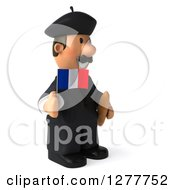 Clipart Of A 3d Short French Businessman Facing Right Holding A Flag And Bread Royalty Free Illustration