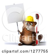 Clipart Of A 3d Construction Beaver Holding A Toothbrush And A Blank Sign Royalty Free Illustration