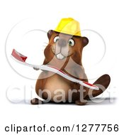 Clipart Of A 3d Construction Beaver Holding A Toothbrush Royalty Free Illustration