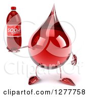 Clipart Of A 3d Hot Water Or Blood Drop Mascot Holding A Soda Bottle Royalty Free Illustration