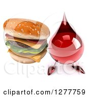 Clipart Of A 3d Hot Water Or Blood Drop Mascot Holding Up A Double Cheeseburger Royalty Free Illustration