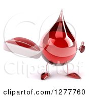 Clipart Of A 3d Hot Water Or Blood Drop Mascot Holding A Thumb Up And Beef Steak Royalty Free Illustration