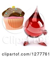 Clipart Of A 3d Hot Water Or Blood Drop Mascot Holding And Pointing To A Chocolate Frosted Cupcake Royalty Free Illustration by Julos