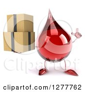 Clipart Of A 3d Hot Water Or Blood Drop Mascot Holding Up A Finger And Boxes Royalty Free Illustration