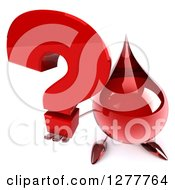 Clipart Of A 3d Hot Water Or Blood Drop Mascot Holding Up A Question Mark Royalty Free Illustration