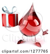 Clipart Of A 3d Hot Water Or Blood Drop Mascot Shrugging And Holding A Gift Royalty Free Illustration