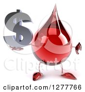 Clipart Of A 3d Hot Water Or Blood Drop Mascot Holding A Thumb Down And A Dollar Symbol Royalty Free Illustration