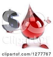 Clipart Of A 3d Hot Water Or Blood Drop Mascot Holding Up A Finger And A Dollar Symbol Royalty Free Illustration