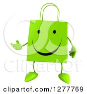 Clipart Of A 3d Happy Green Shopping Bag Character Presenting Royalty Free Illustration