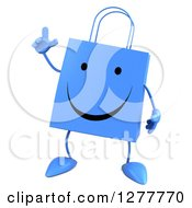 Clipart Of A 3d Happy Blue Shopping Bag Character Holding Up A Finger Royalty Free Illustration