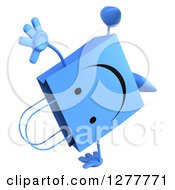 Clipart Of A 3d Happy Blue Shopping Bag Character Cartwheeling Royalty Free Illustration