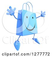 Clipart Of A 3d Happy Blue Shopping Bag Character Facing Right And Jumping Royalty Free Illustration