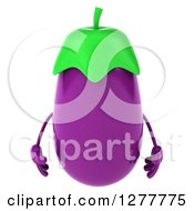 Clipart Of A 3d Eggplant Character Royalty Free Illustration