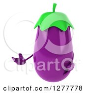 Clipart Of A 3d Eggplant Character Presenting To The Left Royalty Free Illustration