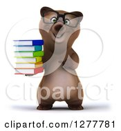 Clipart Of A 3d Bespectacled Brown Bear Holding And Pointing To A Stack Of Books Royalty Free Illustration