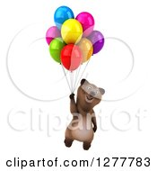 Clipart Of A 3d Brown Bear Smiling And Floating With Colorful Party Balloons Royalty Free Illustration