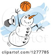 Clipart Of A Winter Snowman Dropping His Top Hat While Playing Basketball Over Blue Streaks Royalty Free Vector Illustration by Johnny Sajem