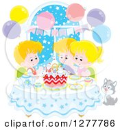 Clipart Of Happy White Children And A Cat Celebrating A December Or Christmas Birthday Royalty Free Vector Illustration